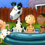 Dog, kids, pool, Terri Murphy, and   Terri Murphy Illustration