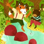fox, bear, fishing, stream, summer, and river