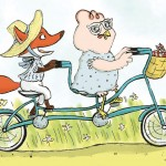 Friends, bike, bicycle, bicycle built for two, buddies, pals, beach, summer day, summer fun, happy, besties, delight, chicken, hen, and fox