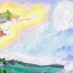 fairies, sky, moon, flying, and children