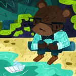 bear, beach, Boat, paper boat, sad, and bowtie