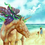 fairytale, Fantasy, Nature, Animals, unicorn, horse, beach, and Watercolor