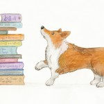 Dogs, corgis, books, and spot illustration