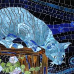 cat, kitty, night, evening, dark, hunting, hunter, glass, and mosaic