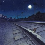 mice, going home, railroad tracks, city, and nighttime
