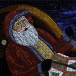 christmas, Holiday, Santa Claus, santa, winter, glass, and mosaic