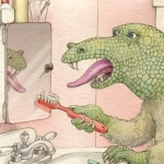 creature, bathroom, and toothbrushing