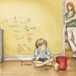 boy, grounded, in trouble, parenting, and children's illustration