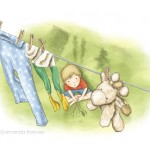 boy, clothes washing, soft toy giraffe, and children's illustration