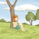 daydreaming, meadow, girl, and children's illustration