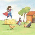 supergirl, superhero, farm, girl and dog, and chickens