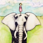 elephant, little girl, and field