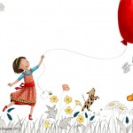 balloon, girl, Dog, and Friendship