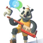 keytar, panda, rooster, Duet, and Music