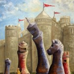 chess, flag, castle, chess pieces, and girl