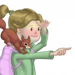 illustration, outdoors, girl, squirrel, sidekick, and active