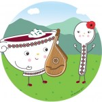 ukrainian, Food, cute food, food character, kitchen, Cooking, food friends, Friendship, Music, instrument, guitar, outside, characters, playing music, food face, spot illustration, spot, culinary, borscht, soup, slavic, Eastern European, european, dinner, embroidery, ethnic, and cyrillic