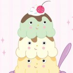 ice cream, illustrator, ice cream faces, food characters, pastels, for girls, sweet, dessert, fountain shop, ice cream sundae, treat, youth, kids, and kid lit