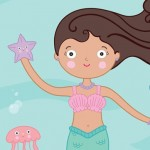 mermaid, Swimming, under the sea, water, ocean, sea life, sea creatures, diversity, African American, sea, human, person, people, figure, Fantasy, under water, jelly fish, fish, waves, and starfish