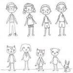 sketchbook, sketch, Line Drawing, characters, cats & dogs, humans, kids, children, beverages, simple, and doodle