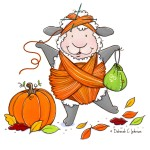 Fall, illustration, sheep, pumpkin, Yarn, Halloween, and notecard
