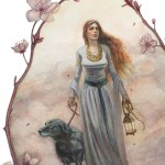 Fantasy, lady, medieval, Dog, and Watercolor