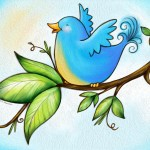 bluebird, spring, digital, illustration, cute, and whimsical