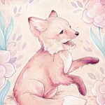 pink, happy, cute, fox, Happy Fox, baby fox, Pink Fox, girly, shield, Animal, Forest Animal, Mint, flowers, flower, and playful