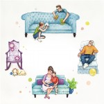 Family, brothers, brother, boy, Dog, Puppy, living room, reading, Mom, dad, and book