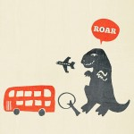dinosaur, t-rex, Transportation, attack, silhouette, Bus, airplane, dump truck, car, speech bubble, tree, and escape