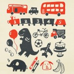 dinosaur, Dog, Animal, Transportation, elephant, crayon, fire truck, car, bicycle, train, dump truck, bubbles, airplane, Cake, banana, soccer ball, Soccer, and balloons