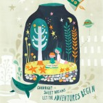 terrarium, bottle, people, Mother, child, whale, Animal, fish, UFO, flying saucer, Aliens, rocket, Stars, hand lettering, and dream