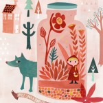 Little Red Riding Hood, wolf, Animal, girl, child, pink, people, house, forest, tree, flower, and terrarium