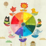 wheel, ferris wheel, Animal, carnival, lion, bear, duck, frog, elephant, fox, children, playground, ride, and color