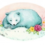 bear, blue, Blue Bear, Sleeping Bear, sleeping, sleepy, tired, cute, sweet, Beary, Mint, peach, pink, Oval, flowers, yellow, rose, and Animal