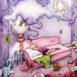 girl, sleeping, dreaming, dream, Girl's Room, toys, dolls, castle, pink, purple, Aqua, bear, lamb, fairy, cloud, and Butterflies