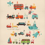 Transportation, alphabet, airplane, Bus, car, dump truck, engine, train, fire truck, golf cart, limousine, ship, van, wagon, blimp, excavator, police car, Motorcycle, sailboat, Boat, Tractor, yacht, kayak, and jet ski