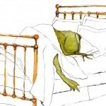 frog, and bed