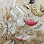 alice in wonderland, story, Fantasy, rabbit, girl, teacup, teapot, tea, playing cards, falling, flying, and Lewis Carroll