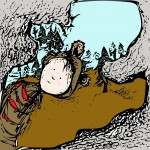 bear, kid, cave, Adventure, color, woodcut, and lino