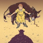 donkey, girl, and cover art