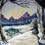 winter, town, Snow, forest, and girl