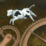 cow, butterfly, Electricity, city, science, technology, gears, Nature, and Plants
