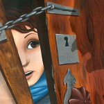 girl, door, outside, fear, looking, keyhole, and reflection