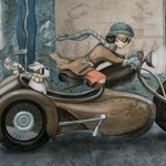 girl, city, Motorcycle, sidecar, Dog, mechanic, and nighttime