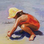 beach, girl, sand, and sunhat