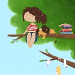 girl, day dreaming, child, tree, Animal, lion, and children art