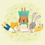Bunny, rabbit, Dog, cat, and reading