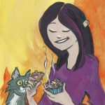 muffin, Cooking, cat, girl, and baking