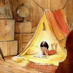 reading, book, picture book, girl, Tent, and attic